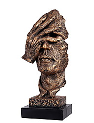 cheap -Creative Abstract Decor The Thinker Statue Face & Hand Statues Sculptures Office Desk Decor Keep Silence Figurine