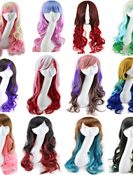 cheap -Synthetic Wig Body Wave Asymmetrical Wig Long Pink / Purple Blue Ombre Pink Ombre Brown Blue / Green / Blonde Synthetic Hair 25 inch Women's Color Gradient Best Quality Red Brown