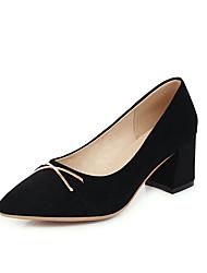 cheap -Women's Heels Chunky Heel Pointed Toe Suede Casual / Minimalism Spring & Summer Black / Beige