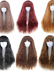cheap -Synthetic Wig Loose Curl Neat Bang Wig Burgundy Long Light Brown Brown Natural Black Brown / Burgundy Purple Synthetic Hair 25 inch Women's Best Quality Fluffy Burgundy Brown