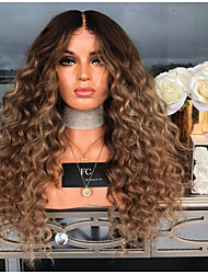 cheap -Synthetic Wig Jerry Curl Asymmetrical Wig Long Brown Synthetic Hair 27 inch Women's Best Quality Middle Part Fluffy Brown