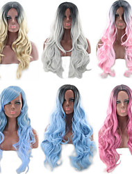 cheap -Synthetic Wig Body Wave Asymmetrical Wig Blonde Pink Long Blonde Grey Pink Black / Pink Black / Blue Synthetic Hair 27 inch Women's Color Gradient Best Quality Blonde Pink