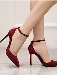 cheap -Women's Heels Stiletto Heel Pointed Toe Suede Minimalism Walking Shoes Spring &  Fall / Spring & Summer Black / Almond / Burgundy