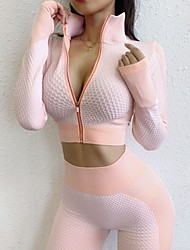 cheap -Women's 2 Piece Tracksuit Yoga Suit Seamless Thumbhole Zip Front Heart Pink Green Nylon Fitness Gym Workout Running High Waist Tights Crop Top Long Sleeve Sport Activewear Tummy Control Butt Lift