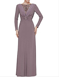 cheap -A-Line Bateau Neck Floor Length Jersey Long Sleeve Plus Size Mother of the Bride Dress with Appliques 2020