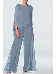 cheap -Pantsuit / Jumpsuit Mother of the Bride Dress Plus Size Jewel Neck Floor Length Chiffon 3/4 Length Sleeve with Draping 2020