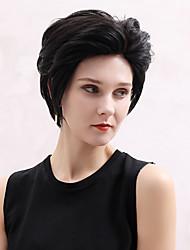Недорогие -Натуральные волосы Лента спереди Парик Стрижка под мальчика Ассиметричная стрижка С чёлкой стиль Индийские волосы Естественный прямой Черный Белый Парик 130% Плотность волос / Короткие