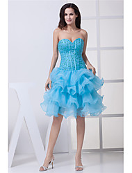 cheap -Ball Gown Elegant Party Wear Wedding Guest Cocktail Party Dress Strapless Sleeveless Knee Length Organza with Beading Tier 2020