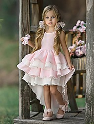 cheap -Ball Gown Asymmetrical Party / Wedding Flower Girl Dresses - Tulle Long Sleeve Jewel Neck with Tier / Solid