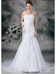 cheap -Mermaid / Trumpet Wedding Dresses Sweetheart Neckline Chapel Train Lace Organza Satin Spaghetti Strap with Sashes / Ribbons Bow(s) Beading 2020