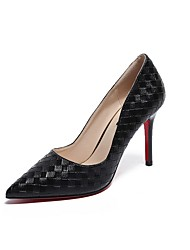 cheap -Women's Heels Stiletto Heel Pointed Toe PU Winter Black / White