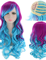 cheap -Synthetic Wig Curly kinky Straight Asymmetrical Wig Long Ombre Color Synthetic Hair 27 inch Women's Best Quality Ombre Mixed Color