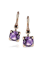 cheap -Women's Amethyst Drop Earrings Geometrical Flower Stylish Earrings Jewelry Purple For Daily Festival 1 Pair