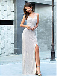 cheap -Sheath / Column Sparkle White Engagement Formal Evening Dress Spaghetti Strap Sleeveless Floor Length Sequined Polyester with Split 2020