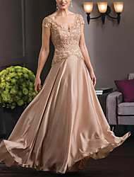 cheap -A-Line Plunging Neck Floor Length Lace / Satin Short Sleeve Elegant Mother of the Bride Dress with Lace 2020