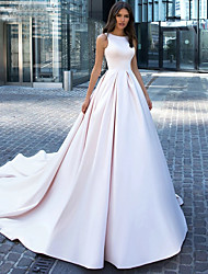 cheap -Ball Gown Wedding Dresses Bateau Neck Cathedral Train Polyester Regular Straps Plus Size with Crystals 2020