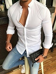 cheap -Men's Solid Colored Shirt Daily White / Black / Yellow / Blushing Pink / Long Sleeve