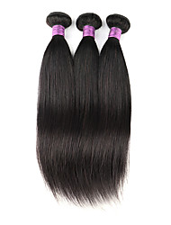 cheap -3 Bundles Indian Hair Straight Virgin Human Hair Remy Human Hair Natural Color Hair Weaves / Hair Bulk 8 - 32 inch Natural Black Human Hair Weaves Best Quality 100% Virgin Unprocessed Human Hair