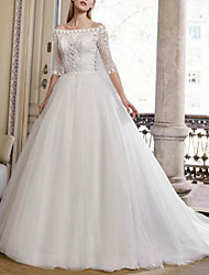 cheap -Ball Gown Off Shoulder Sweep / Brush Train Tulle Half Sleeve Plus Size Made-To-Measure Wedding Dresses with Embroidery 2020