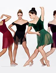 cheap -Ballet Dress Wave-like Split Joint Girls' Performance Cap Sleeve Natural Mesh Velvet