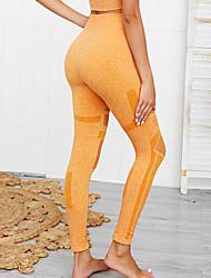 cheap -Women's High Waist Yoga Pants Winter Patchwork Solid Color Yellow Green Blue Pink Mesh Running Fitness Gym Workout Tights Leggings Sport Activewear Moisture Wicking Butt Lift Tummy Control Power Flex