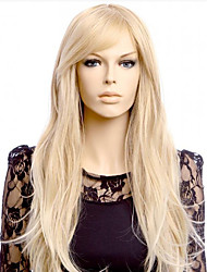 cheap -Synthetic Wig kinky Straight Asymmetrical Wig Long Blonde Synthetic Hair 27 inch Women's Best Quality Blonde