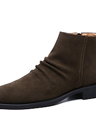 cheap -Men's Comfort Shoes Suede Winter Boots Booties / Ankle Boots Black / Brown / Beige