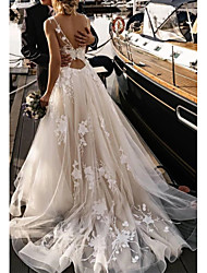 cheap -A-Line V Neck Court Train Tulle Spaghetti Strap Backless Wedding Dresses with Appliques 2020