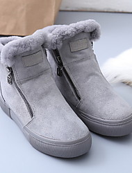 cheap -Women's Boots Flat Heel Round Toe Suede Booties / Ankle Boots Winter Black / Gray
