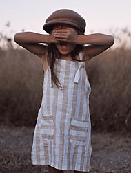 cheap -Baby Girls' Basic Striped Sleeveless Dress Light Brown