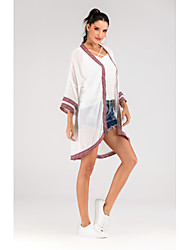 cheap -Women's Daily / Going out Street chic Spring &  Fall Long Kimono Jacket, Color Block / Solid Colored Collarless Long Sleeve Polyester / Spandex Patchwork White