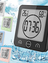 cheap -Waterproof Temperature Humidity Meter Digital Bathroom Wall Shower Clock Timer Kitchen Thermometer Hygrometer Countdown Alarm