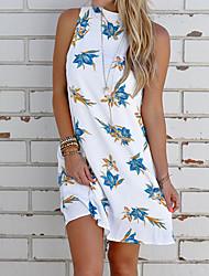 cheap -Women's Basic Sheath Dress - Floral White Blushing Pink Yellow S M L XL