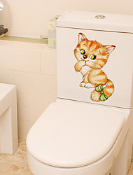 cheap -Toilet Stickers - Animal Wall Stickers Animals Bathroom / Kitchen 15*14.5cm