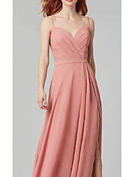 cheap -A-Line Spaghetti Strap Floor Length Chiffon Bridesmaid Dress with Sash / Ribbon / Split Front / Ruching