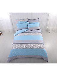cheap -Duvet Cover Sets 6 Piece Polyester / Polyamide Lines / Waves Light Blue Printed Contemporary
