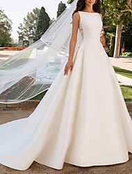 cheap -A-Line Wedding Dresses Bateau Neck Court Train Satin Regular Straps Romantic Plus Size Elegant with Bow(s) Buttons Lace Insert 2020