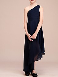 cheap -A-Line One Shoulder Asymmetrical Chiffon Junior Bridesmaid Dress with Pleats