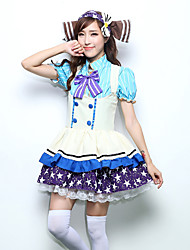 cheap -Sweet Lolita Princess Lolita Dress JSK / Jumper Skirt Female Japanese Cosplay Costumes Blue Color Block Bowknot Short Sleeve Above Knee