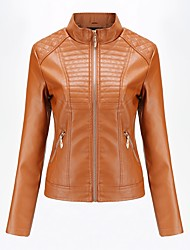 cheap -Women's Daily Basic Spring &  Fall Regular Leather Jacket, Solid Colored Stand Long Sleeve PU Black / Red / Brown
