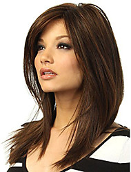 cheap -Synthetic Wig Straight kinky Straight Asymmetrical Wig Long Medium Length Brown Synthetic Hair 19 inch Women's Best Quality Brown