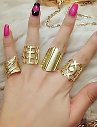 cheap -Ring Geometrical Gold Silver Alloy Flower Asian Elegant Punk 4pcs / Women's / Ring Set
