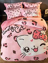 cheap -Fashion Leopard Print Cartoon Flannel Duvet Cover Set Queen Bedding Cover Set Boys Girls Duvet Comforter Cover Set Luxury Soft Queen Duvet Cover Set