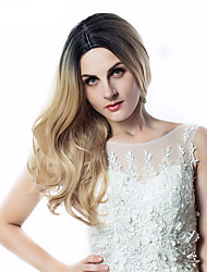 cheap -Synthetic Wig Curly Asymmetrical Wig Long Ombre Blonde Synthetic Hair 23 inch Women's Best Quality Blonde