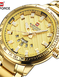 cheap -NAVIFORCE Men's Steel Band Watches Quartz Formal Style Stylish 30 m Water Resistant / Waterproof Calendar / date / day Casual Watch Analog Luxury Fashion - black / gold Black / Silver Gold
