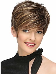 cheap -Synthetic Wig Bangs Natural Straight Side Part Wig Short Brown / Burgundy Synthetic Hair 12 inch Women's Fashionable Design Women Synthetic Brown