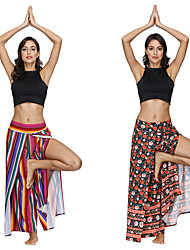 cheap -Women's Dancer Yoga Masquerade Boho Exotic Dancewear Polyster Black / Red Blue+Red Pants
