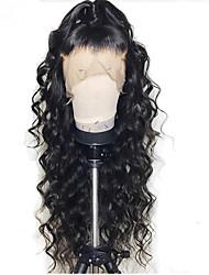 Недорогие -Натуральные волосы Лента спереди Парик Глубокое разделение стиль Бразильские волосы Волнистый Коричневый Парик 130% Плотность волос с детскими волосами Женский С отбеленными узлами Жен. Средняя длина
