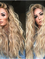 cheap -Synthetic Wig Body Wave Asymmetrical Wig Blonde Long Blonde Synthetic Hair 27 inch Women's Best Quality Fluffy Blonde