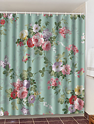 cheap -Shower Curtains with Hooks Colorful Flowers Polyester Novelty Fabric Waterproof Shower Curtain for Bathroom